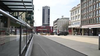 Coronavirus: Stadt Grenchen Marktplatz am Freitag ist leer.