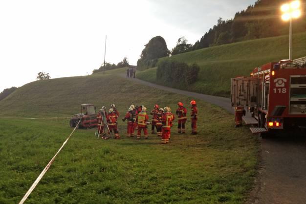 Die Feuerwehr nach getaner Arbeit.