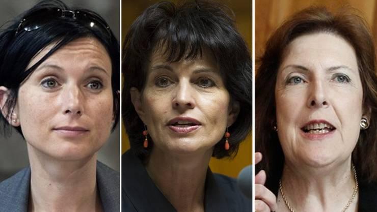 SP-Ständerätin Pascale Bruderer, CVP-Bundesrätin Doris Leuthard und FDP-Ständerätin Christine Egerszegi (von links).