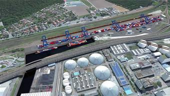 Das geplante Terminal Gateway Basel Nord soll die Transportmittel Schiff, Bahn und Lastwagen verbinden und so die Containerströme bündeln. Visualisierung/zvg