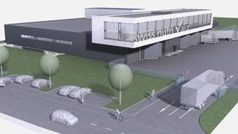 So soll sich das Gebäude in der Industriezone Holinden aus südöstlicher Sicht präsentieren. Vorne verläuft die Südringstrasse.
