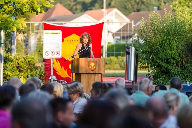1. August-Feier in Mägenwil am 31. Juli 2018 mit Gastredner Roger Köppel. Im Bild: GemeinderätinMarlène Fehlmann