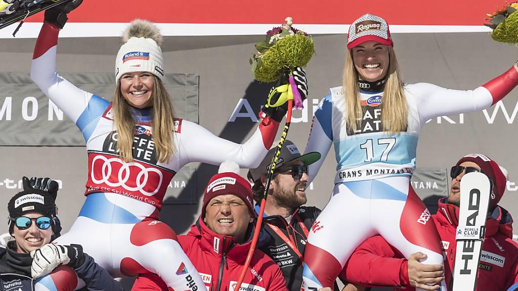 Swiss-Ski in Feierlaune: Kann die Schweizer Delegation auch an der WM in Cortina im Kollektiv - mit Maske und Abstand - Podestplätze bejubeln wie vor einem Jahr im Weltcup in Crans-Montana?