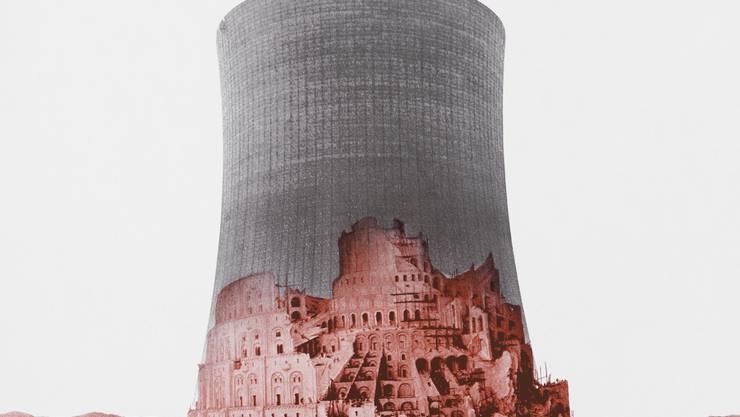 Breughel, der Turm zu Babel und der Kühlturm: Plakat für die Atomschutzinitiative 1979.