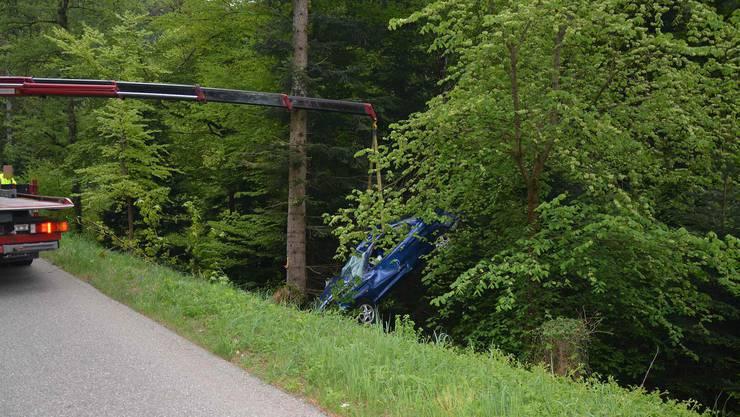 Am Donnerstagabend verlor ein Autolenker die Kontrolle und stürzte eine Böschung hinunter.