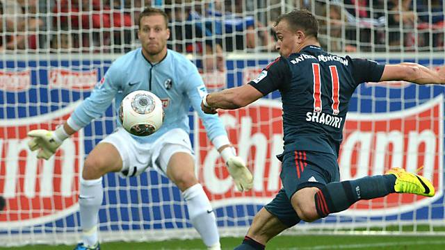 Zauberzwerg Shaqiri schiesst auch Tore, hier im August das 1:0 gegen den SC Freiburg.