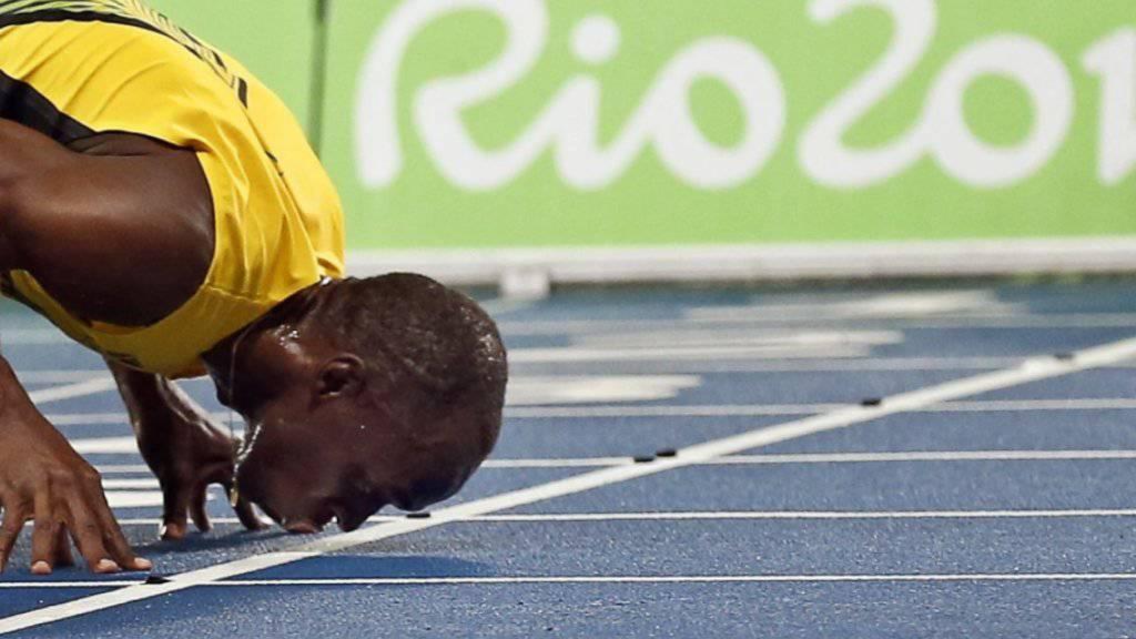 Der jamaikanische Sprinter Usain Bolt nach dem 200-Meter-Final bei den Olympischen Sommerspielen 2016 in Rio de Janeiro. (Archivbild)