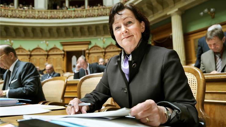 Sylvia Flückiger in ihrer ersten Woche als Nationalrätin im Dezember 2007. Bild: Peter Mosimann