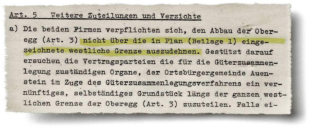 Ausriss aus dem Vertrag zwischen der Ortsbürgergemeinde Auenstein und den JCF-Vorgängerfirmen vom 1.4.1964.