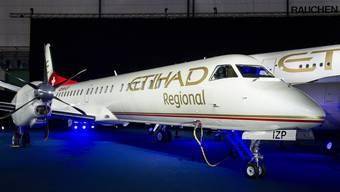 Bereits der erste Zwischenfall. Erst vor eineinhalb Wochen nahm die Etihad Regional ihren Betrieb auf – hier beim Startschuss am 16. Januar 2014 am Flughafen Zürich.