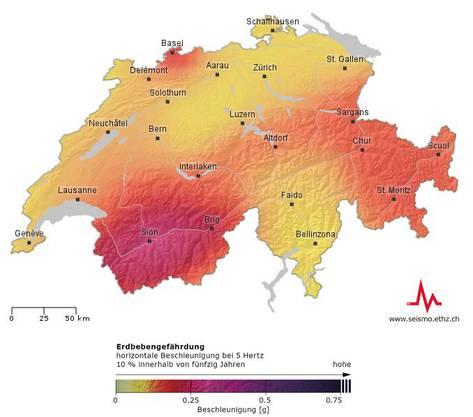 5 Hertz entsprechen im Mittel der Eigenfrequenz von Gebäuden mit zwei bis fünf Stockwerken, die den grössten Anteil der Bauwerke in der Schweiz ausmachen. Ein erdbebengerecht gebautes Wohn- oder Geschäftsgebäude sollte einem Erdbeben standhalten, welches sich an seinem Standort durchschnittlich einmal in 500 Jahren ereignet.