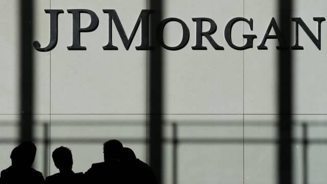 Das Logo von JPMorgan am Hauptsitz in New York