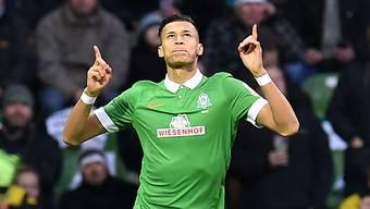 Bremens Davie Selke nach seinem Tor zum 1:0 gegen Dortmund