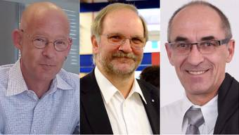 Die Ammann-Kandidaten aus Menziken: Erich Bruderer, Alfred Merz, Hans Heinrich Leuzinger