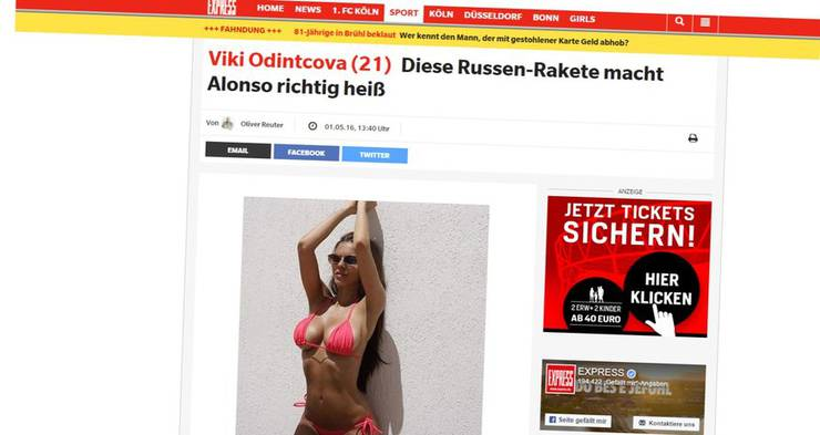 Der Kölner Express berichtete gewohnt «rassig» über das Gerücht, zwischen Alonso und Odintcova laufe etwas.