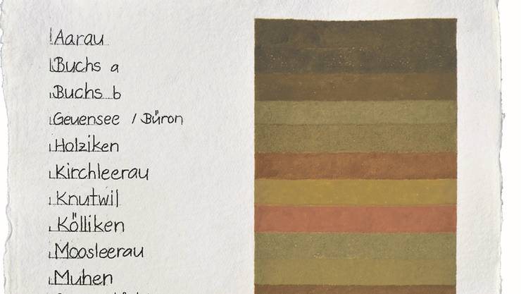So sehen die «Erdfarben» der verschiedenen Gemeinden aus. zvg
