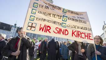 """An der Kundgebung """"Es reicht"""" in St. Gallen"""