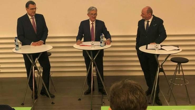Hoher Besuch: Mit Jerome Powell (Mitte) redet erstmals ein US-Notenbankchef an der Universität Zürich.
