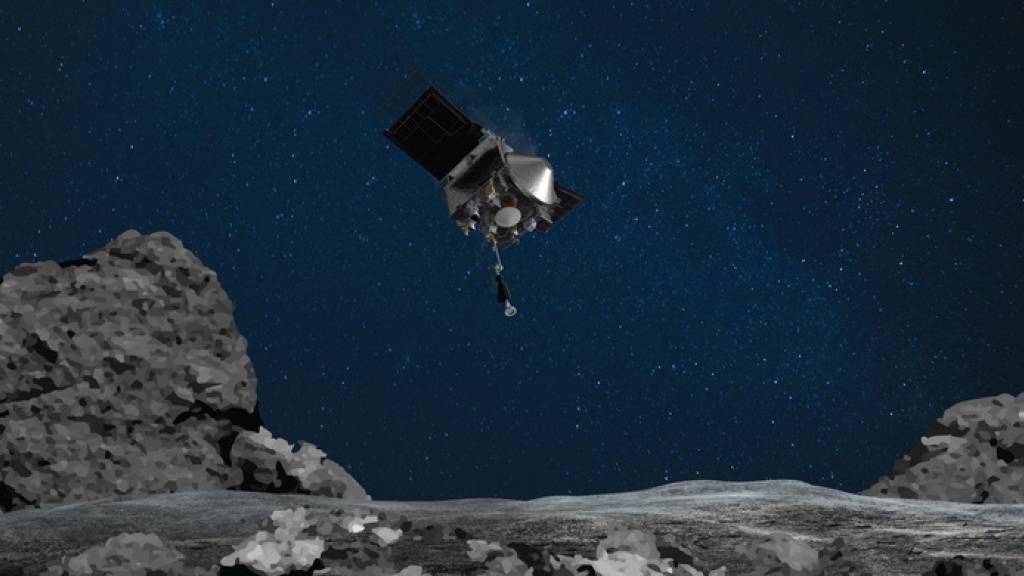 Künstlerische Darstellung von Osiris-Rex im Anflug auf den Asteroiden Bennu. (Nasa)