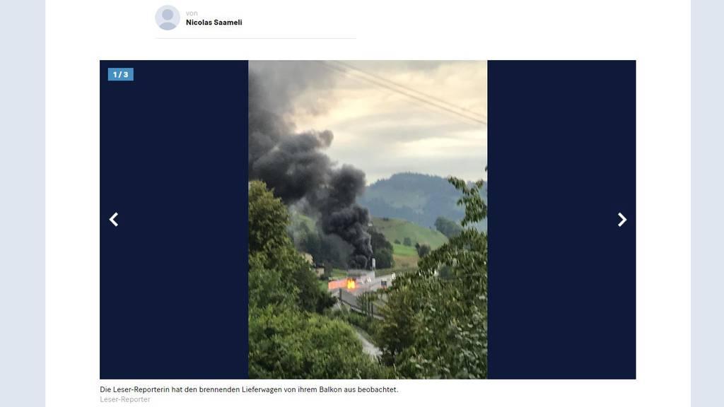 Auf der A2 brannte ein Lieferwagen