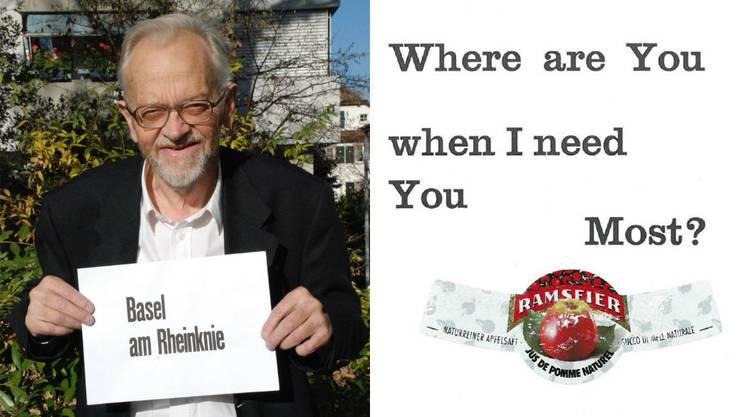 Links: Paul Habegger mit seinem Postkartenmotiv «Basel am Rheinknie». Form und Inhalt bilden eine unauflösliche Einheit. Rechts: Darauf muss man erst einmal kommen. Habegger spielt mit der Doppelbedeutung des Wortes «Most».