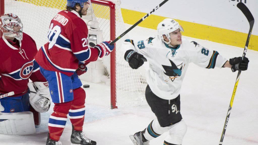 Sharks-Stürmer Timo Meier freut sich über seine Tor-Premiere in der NHL