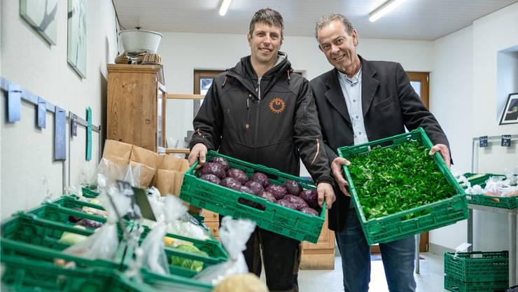 Der Othmarsinger Bauer Urs Bryner (links) und «Maiengrün»-Wirt Roland Lämmli arbeiten im Bereich der regionalen und saisonalen Produkte schon seit längerem hervorragend zusammen.