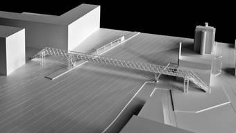 Eine 120 Meter lange Fachwerkbrücke wird das Stadion mit dem Bahnhof verbinden.