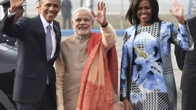Barack und Michelle Obama mit dem indischen Premier Narendra Modi