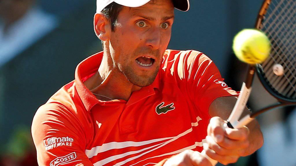 Novak Djokovic setzte sich im Halbfinal von Madrid gegen Dominic Thiem in zwei Sätzen jeweils im Tiebreak durch