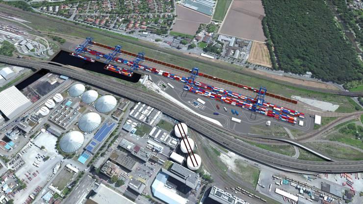 So soll das Hafenbecken 3 umgesetzt werden. (Visualisierung)