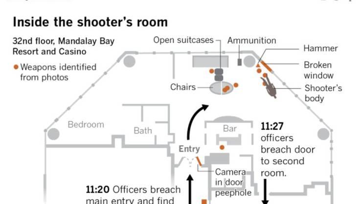 Die «LA Times» hat einen Grundriss von Paddocks Suite veröffentlicht. Links unten der zweite Raum, den die Polizei am Schluss stürmte.