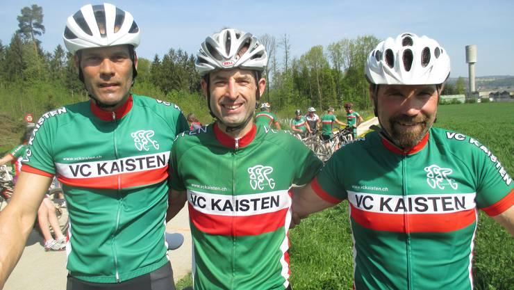 Die Erstplatzierten beim Bikerennen v.l. René Emmenegger (2.), Marcel Herzog (1.), Adrian Näf (3.).