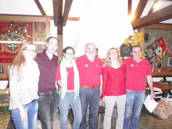 Podest Sie und Er Stich von links nach rechts Anina und Oliver Oggenfuss, Verena und Toni Brumann, Ursula Geu und Mario Bürgisser