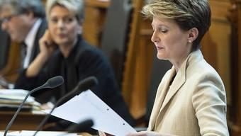 Bundespräsidentin Simonetta Sommaruga vertrat heute im Ständerat die geplante Änderung des Korruptionsstrafrechts