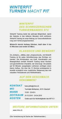 Flyer Winterfit Training Rückseite