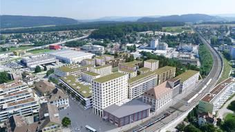 Das neue Areal «Im Lenz» (Visualisierung) in Lenzburg. In diesem Bezirk sind die Wohnungspreise zuletzt stark gestiegen.
