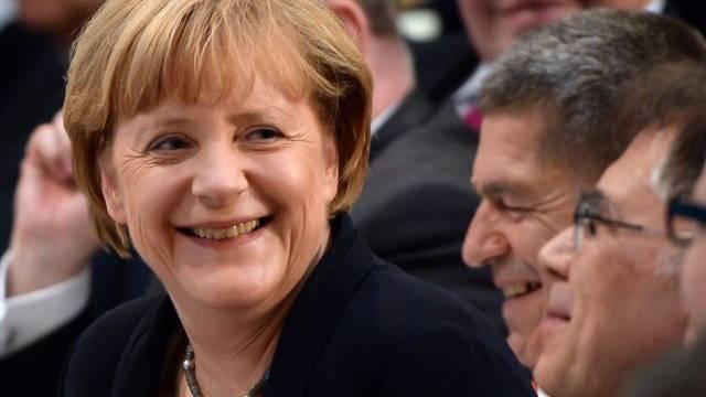 Freude bei der deutschen Kanzlerin Angela Merkel