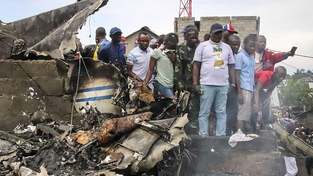 Das Kleinflugzeug ist über der Grossstadt Goma abgestürzt und krachte in mindestens ein Haus.
