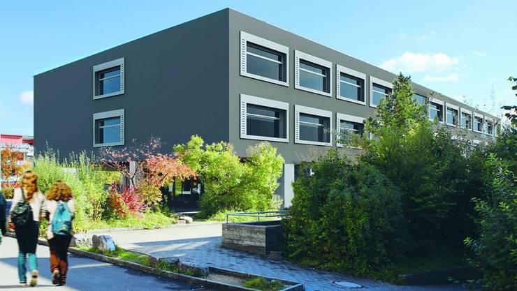 Die Visualisierung der Architekten zeigt das Schulhaus Ost mit der neuen Fassade.  zvg