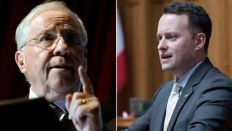 Christoph Blocher und der Basler SVP-Präsident Sebastian Frehner führten ein «konstruktives Gespräch».