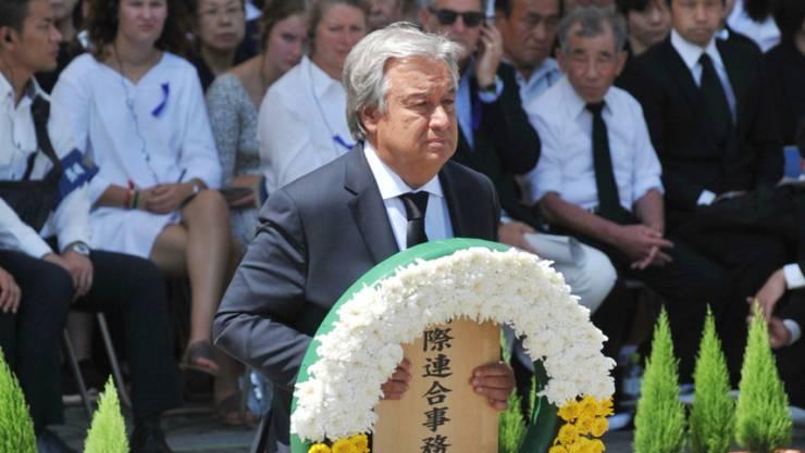 Uno-Generalsekretär Antonio Guterres bei der Gedenkfeier für die Opfer des Atombombenabwurfs vor 73 Jahren im japanischen Nagasaki.
