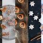 Gefüllte Makrönli Caramel, Apfel-Baumnuss-Guetzli, Schoko-Kardamom-Augen, Mandarinen-Zimtsterne, Crème-Brûlée Spitzbuben (v.l.n.r.).