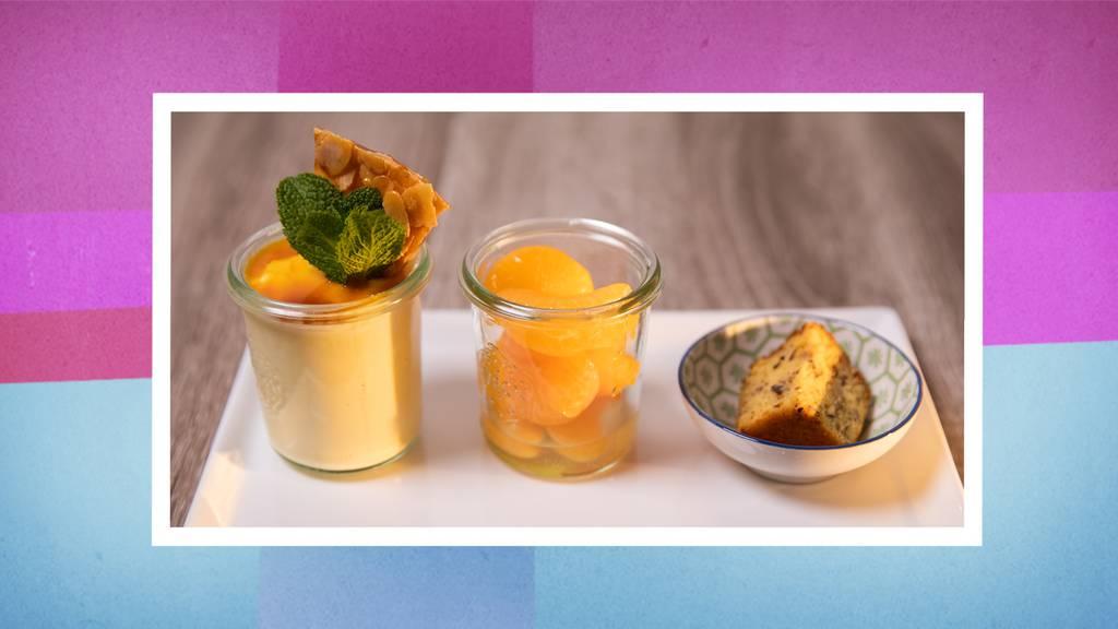 Mandarinenmousse mit Mandelkrokant und Mandarinensalat