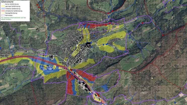 Die Gefahrenkarte mit dem Ausschnitt von Balsthal: Rot schraffiert die erheblich gefährdeten Gebiete.