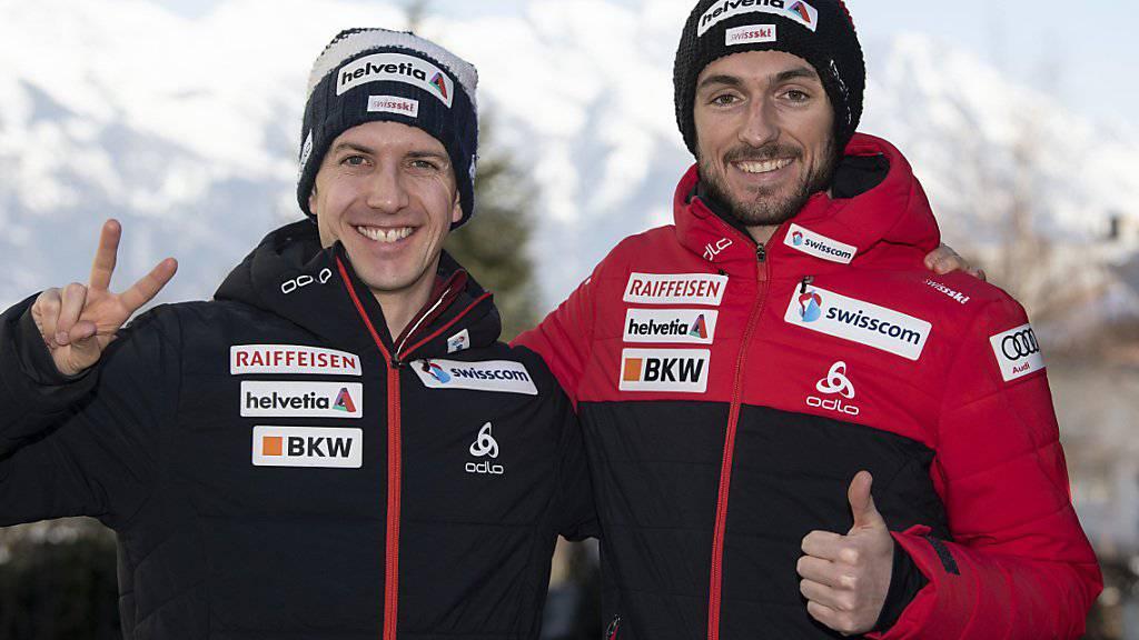 Dürfen sich gute Hoffnungen für den ersten WM-Wettkampf der Skispringer machen: Simon Ammann (li.) und Killian Peier