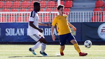 Afimico Pululu (links), vierfacher Torschütze für den FCB in der Gruppenphase, blieb gegen Atlético ohne Tor.