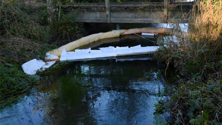 Durch die Ölsperren, die die Feuerwehr aufgestellt hat, konnte das auf der Wasseroberfläche schwimmende Öl grösstenteils zurückgebunden werden.