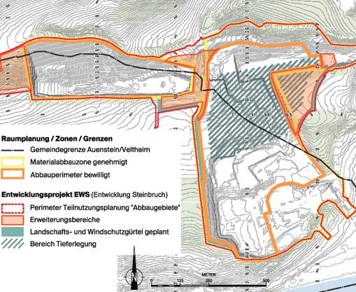 Die Erweiterungen im Westen (Oberegg, beide Gemeinden), in der Mitte (Jakobsberg-Egg, beide Gemeinden) und im Osten (nur Veltheim). Dazu kommt die Tieferlegung in der Mitte (Jakobsberg-Egg). Rechts unten ist die Aare zu sehen.
