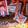 Antichinesische Proteste wie hier in der Stadt Bhopal gab es in ganz Indien.